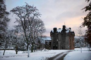 Scottish castle in the snow