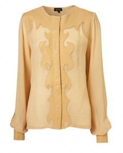 Cream Leather Trim Blouse from Top Shop