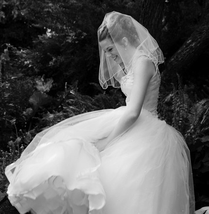 Wedding dress with short veil