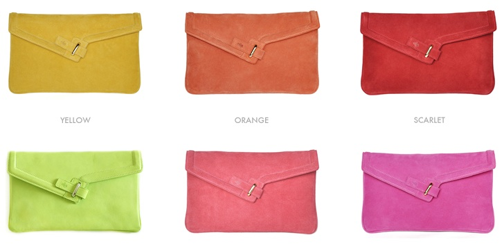 Coloured clutch bags by Ela