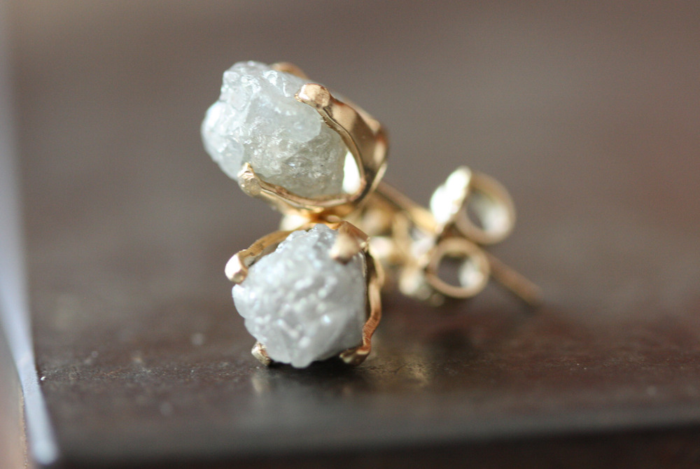 Alexis Russell rough diamond studs