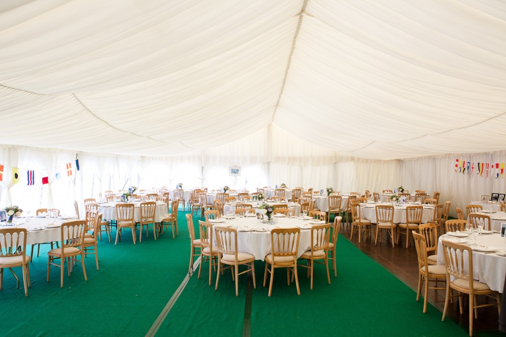 The interior of our wedding marquee in Polruan, Cornwall