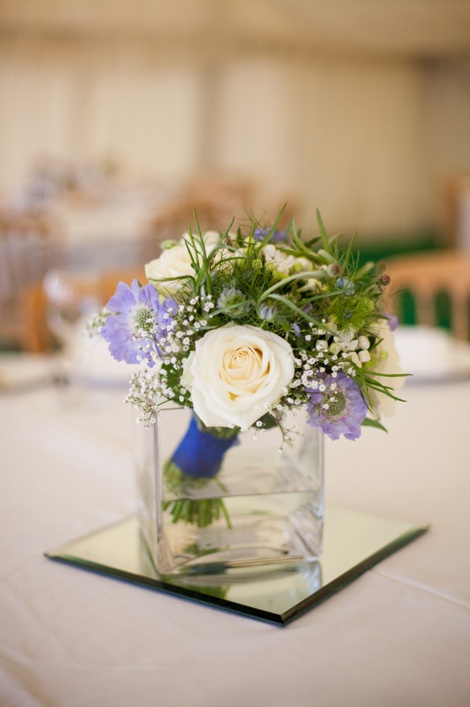 Blue and white wedding table arrangement