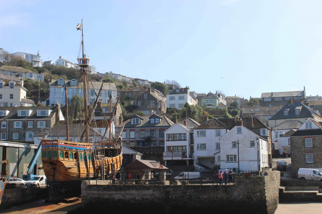 The Matthew at Toms Yard in Polruan, Cornwall