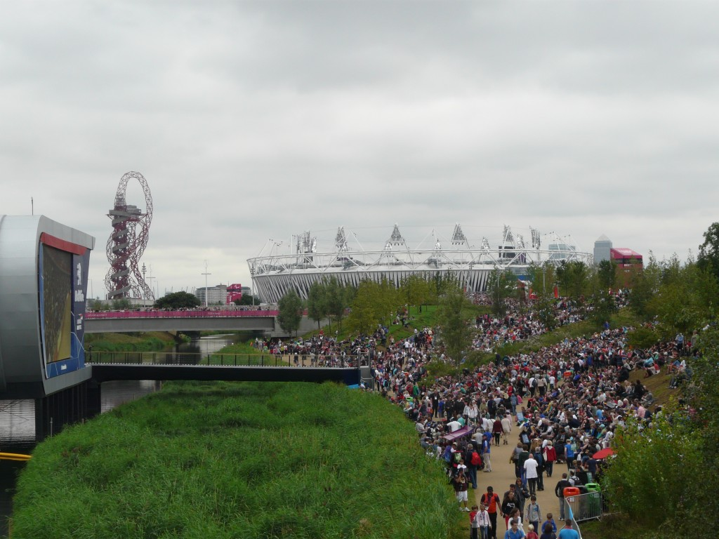 The Orbit stands alongside the Olympic Stadium.