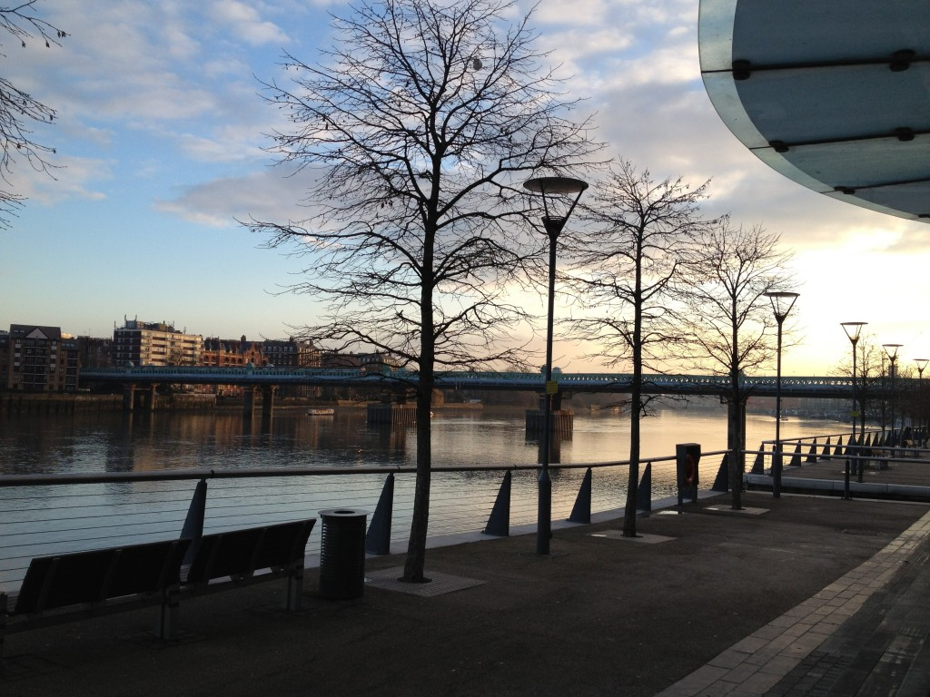 Mid winter morning by the River Thames in Putney