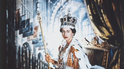 Portrait of Queen Elizabeth II at her coronation.