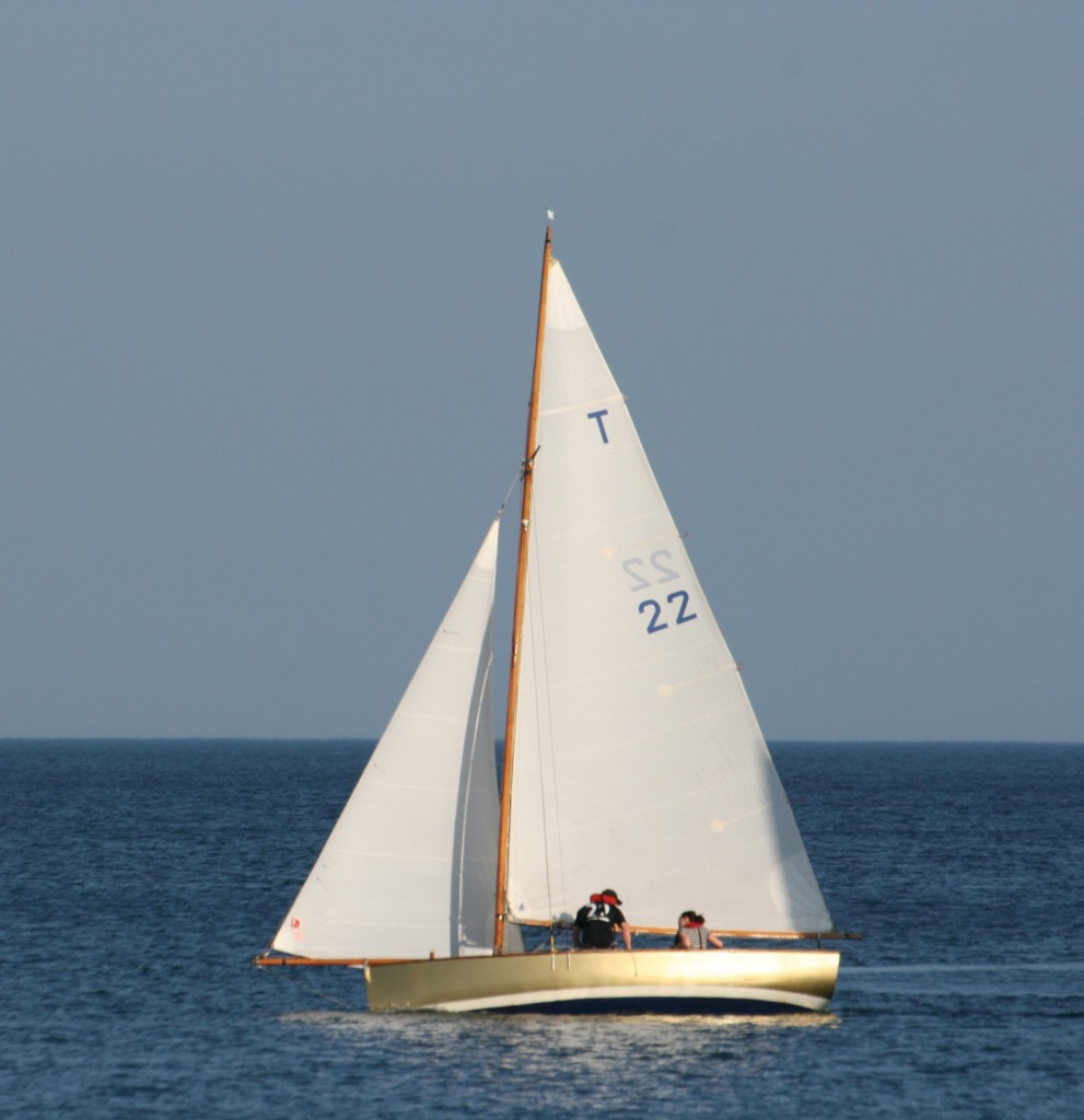 Troy class boat, 'Gold', racing in Fowey Bay, Cornwall