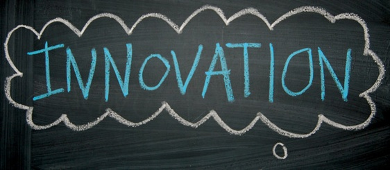 Innovation written on a blackboard