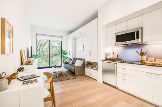 Interior of NY micro apartment