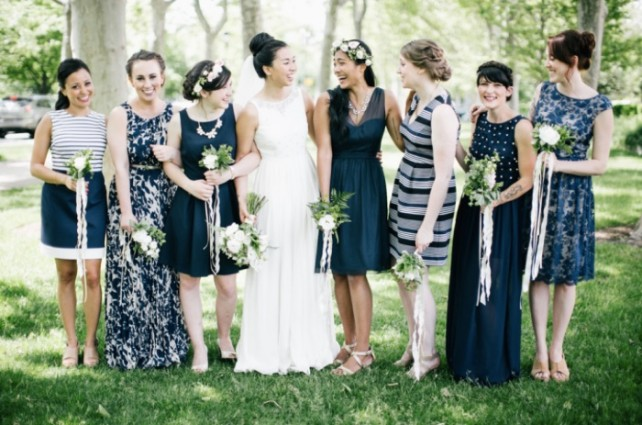 Mismatched navy & white bridesmaids dresses