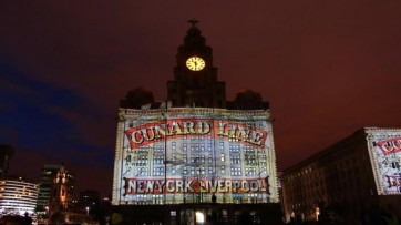Cunard advert projected onto Liver Building