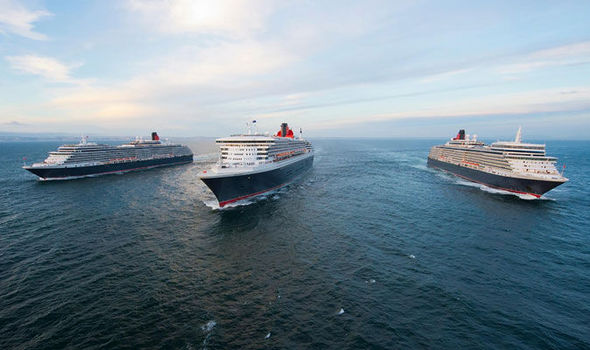 Cunard ships sail past in Liverpool